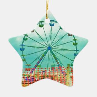 Ferris Wheel Spring Fest Misquamicut Beach Double-Sided Star Ceramic Christmas Ornament