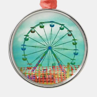 Ferris Wheel Spring Fest Misquamicut Beach Round Metal Christmas Ornament