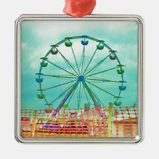 Ferris Wheel Spring Fest Misquamicut Beach Square Metal Christmas Ornament