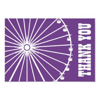 Ferris Wheel Thank You Card (Dark Purple / White)