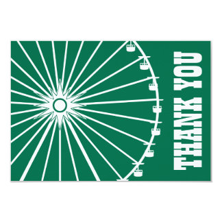 Ferris Wheel Thank You Card (Green / White) Personalized Invitations