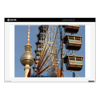 "Ferris Wheel with Berlin TV Tower, Alex, Germany 17"" Laptop Skin"