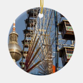 Ferris Wheel with Berlin TV Tower, Alex, Germany Ceramic Ornament