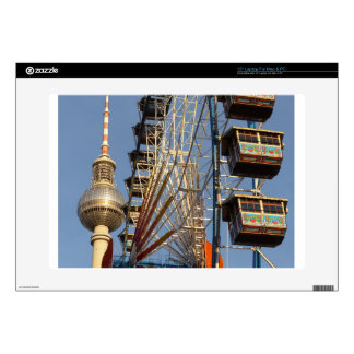 "Ferris Wheel with Berlin TV Tower, Alex, Germany Decals For 15"" Laptops"