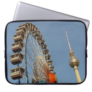 Ferris Wheel with Berlin TV Tower, Alex, Germany Laptop Computer Sleeve
