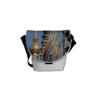 Ferris Wheel with Berlin TV Tower, Alex, Germany Messenger Bag