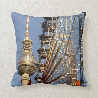 Ferris Wheel with Berlin TV Tower, Alex, Germany Pillow