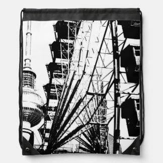 Ferris Wheel with Berlin TV Tower, Alex Drawstring Bags