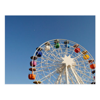 Ferris wheel with colorful baskets postcard