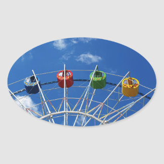 Ferris wheel without visitors oval sticker