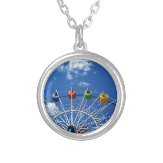 Ferris wheel without visitors round pendant necklace
