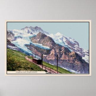 ferrocarril 1900 de la montaña del Ca Jungfrau Póster