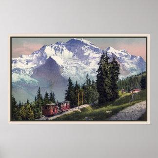 ferrocarril 1900 de Muerren de la montaña del Ca J Póster