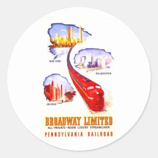 Ferrocarril Broadway Streamliner limitado de Pegatina Redonda