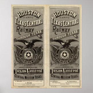 Ferrocarril central de Houston y de Tejas a través Póster