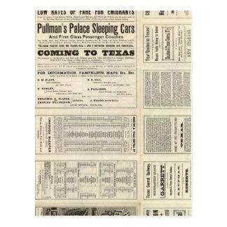 Ferrocarril central de Houston y de Tejas a través Tarjeta Postal