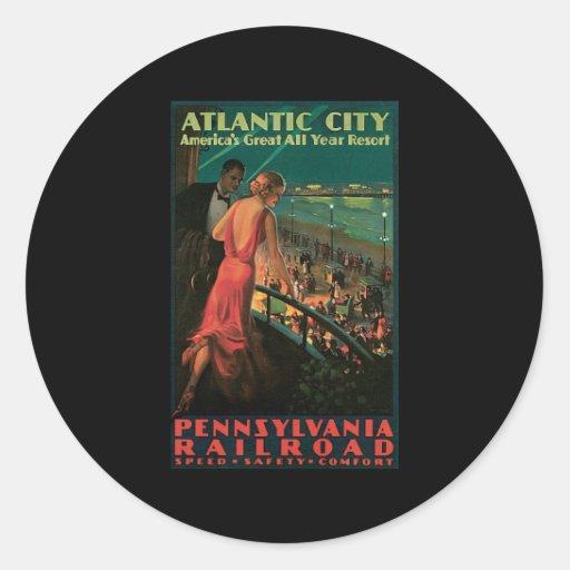 Ferrocarril de Atlantic City Pennsylvania Pegatinas Redondas