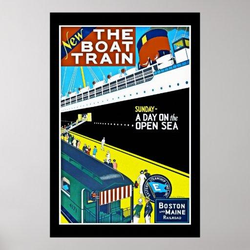 Ferrocarril de Boston Maine del vintage del poster