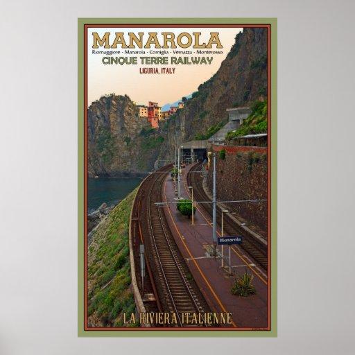 Ferrocarril de Cinque Terre en Manarola Póster