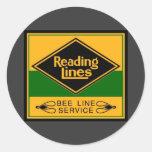 Ferrocarril de la lectura, línea servicio de la ab pegatinas redondas