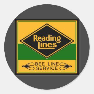 Ferrocarril de la lectura, línea servicio de la pegatinas redondas