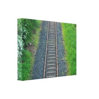 Ferrocarril de la pista del tren en el paisaje de impresión en lienzo