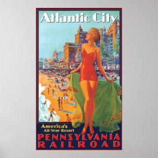 Ferrocarril de Pennsylvania a Atlantic City Póster
