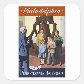 Ferrocarril de Philadelphia Pennsylvania Calcomanías Cuadradass