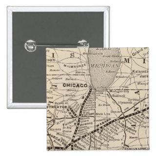 Ferrocarril de Wabash del mapa Pin Cuadrada 5 Cm