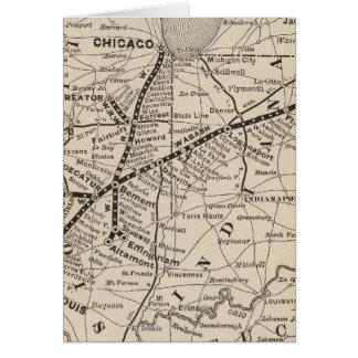 Ferrocarril de Wabash del mapa Tarjeta De Felicitación