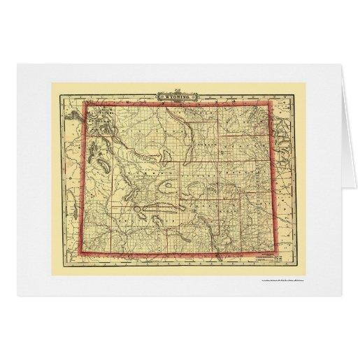 Ferrocarril de Wyoming y mapa 1895 de la ciudad Felicitación