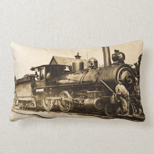 Ferrocarril del motor de vapor del vintage y del cojín