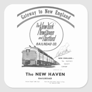Ferrocarril-Entrada de New Haven a Nueva Pegatina Cuadrada