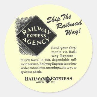 Ferrocarril expreso - envíe la manera del pegatina redonda