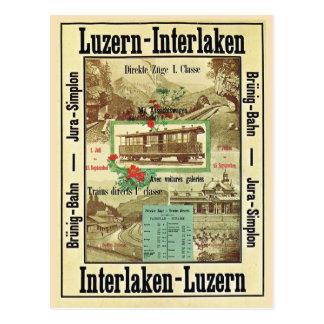 Ferrocarril suizo del vintage, Lucerna Interlaken Postal