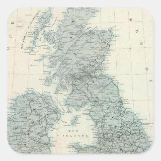 Ferrocarril y canales de islas británicas pegatina cuadrada