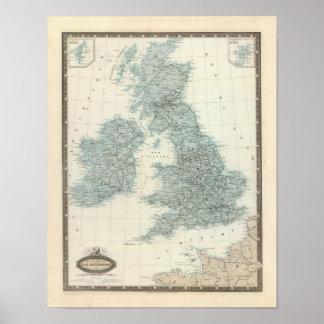 Ferrocarril y canales de islas británicas póster