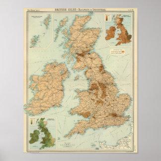 Ferrocarriles de las islas británicas y mapa indus póster