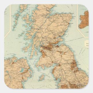 Ferrocarriles de las islas británicas y mapa pegatina cuadrada