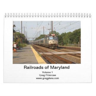 Ferrocarriles del volumen 1-Captioned de Maryland Calendarios