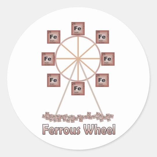 Ferrous Wheel Iron Chemistry Item Classic Round Sticker