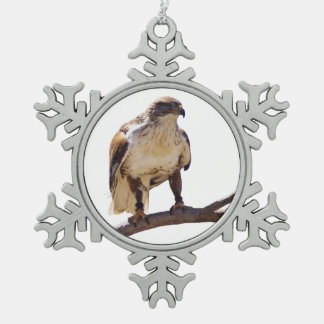 Ferruginous Hawk Snowflake Pewter Christmas Ornament