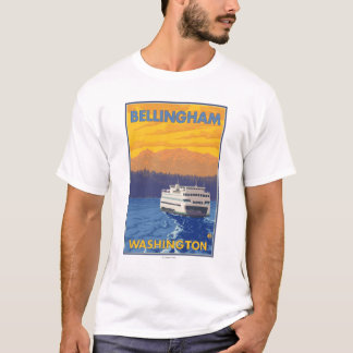 Ferry and Mountains - Bellingham, Washington T-Shirt