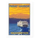 Ferry and Mountains - Friday Harbor, Washington Postcard
