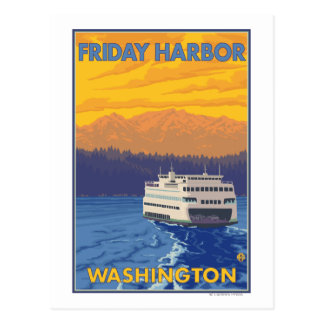 Ferry and Mountains - Friday Harbor, Washington Postcard