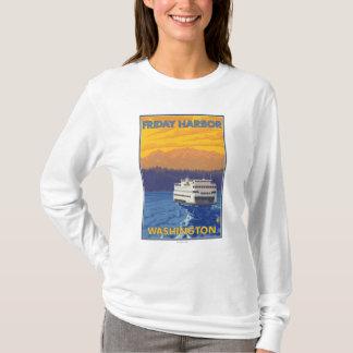 Ferry and Mountains - Friday Harbor, Washington T-Shirt