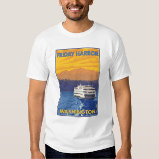 Ferry and Mountains - Friday Harbor, Washington Tees