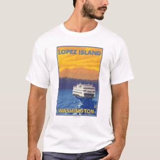 Ferry and Mountains - Lopez Island, Washington T-Shirt
