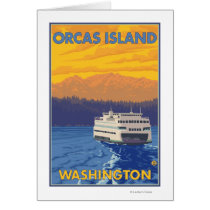 Ferry and Mountains - Orcas Island, Washington Card