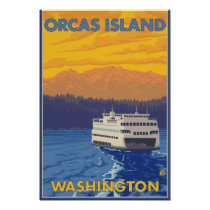 Ferry and Mountains - Orcas Island, Washington Poster